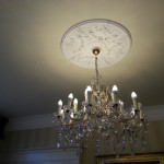 pennyhill park lounge, chandeliers, bespoke paper coverings