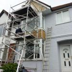 Exterior restoration work in progress