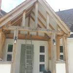 New exterior wood and rendered porch before final decor works begin